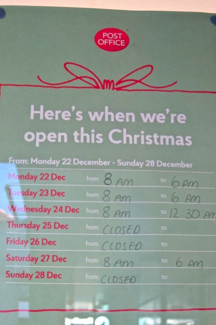 Christmas opening times in 2014:  WH Smith & Post Office at Fryern Arcade, Chandler's Ford.