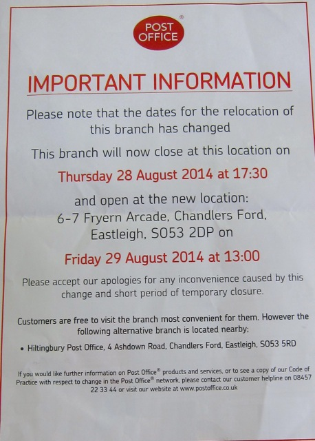 Fryern Arcade post office new notice: moving at the end of August.