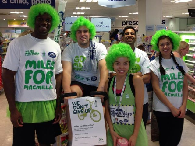 June Lai (front) and her supporters. Raising fund for Macmillan Cancer Support.