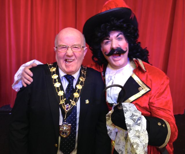Caption for photo: The Mayor of Eastleigh (aka Sexy Drawers) with Captain Hook.