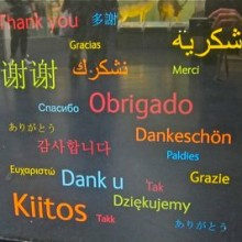 Languages on the donation box in Natural History Museum.