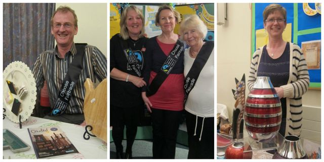 "Left: James selling Created (Tearfund) gifts. Middle: Fairtrade in Eastleigh Borough campaign committee: (from left to right): Daphne Bright, Elizabeth Cross, Haulwen Broadhurst. Right: Sue Hunt from <a href=""http://www.thefairtradeshop.org.uk/"">Shop Equality</a>."