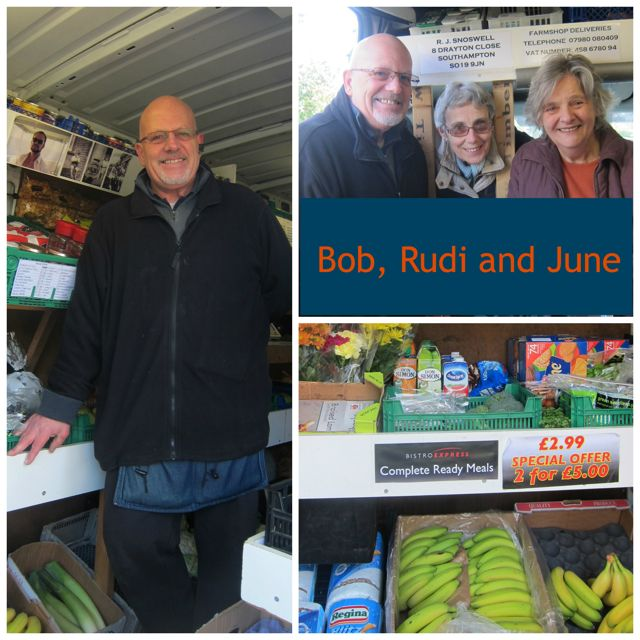 Bob and Rudi enjoy their visit to Chandler's Ford every Wednesday in their mobile farmshop.