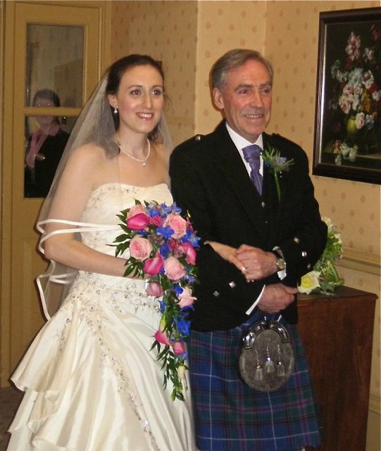 The bride Rowan Esther Catherine was given away by her father, Hugh Cameron of Chandler's Ford.