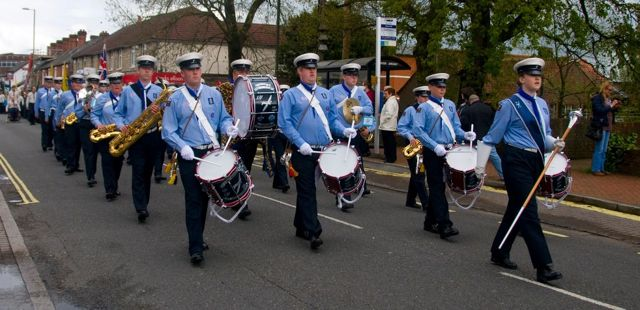 "Chandler's Ford St. George's Day Parade 27th April 2014. 14th Eastleigh Scout and Guide Band - ""The Spitfires"". Image credit: Richard Moss."
