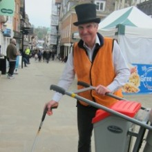 Terry picks up litter in Winchester city centre.