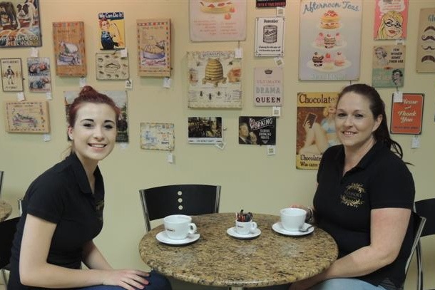 Eleanor (left) runs the Peter Green coffee shop.
