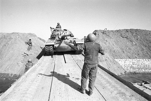 Israeli Tanks Cross the Suez Canal. Image by Israel Defense Forces via Flickr.