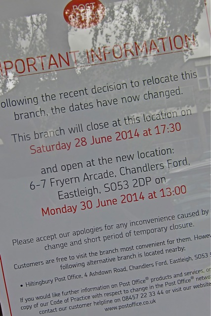 Fryern Arcade Post Office's new notice: moving on 28th June 2014.
