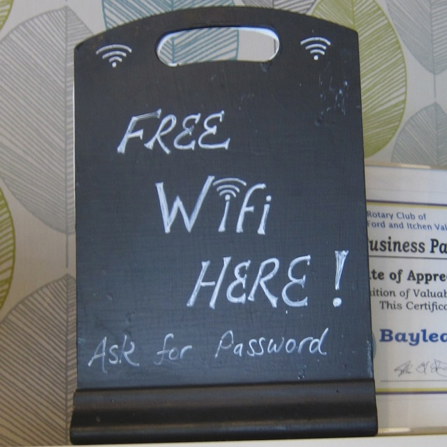 Bay Leaves Larder Free WiFi sign