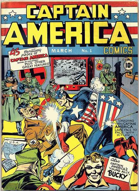 Captain America punching Hitler. Image by Rick Marshall via Flickr.