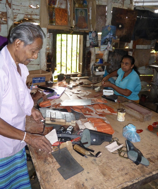 Leatherman in his workshop, Sri Lanka.