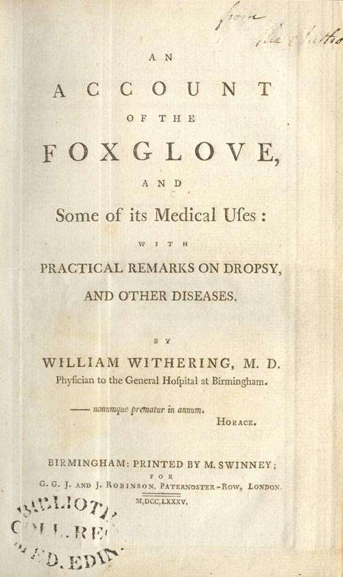 Title page of Withering's treatise.