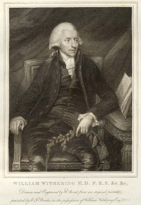 William Withering b1741 - d 1789. Physician and botanist. Fellow of the Royal Society. Discovered the use of foxglove for treatment of heart disease. Worked in Stafford and Birmingham.