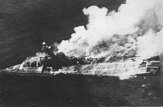 HMS Hermes, the world's first purpose built aircraft carrier, sinking off Ceylon in 1942