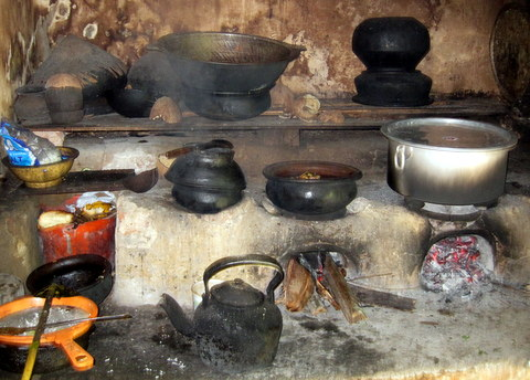 Large kitchen range in Sri Lanka. There is no chimney, just an open window.