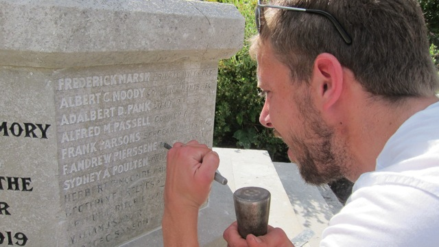 Jon: careful and detailed work at Chandler's Ford War Memorial.