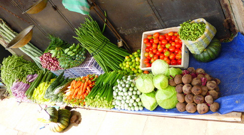 Kerbside vegetable display in Sri Lanka.