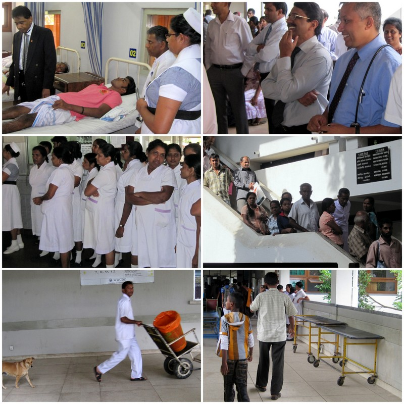 Ward Round with doctors, student nurses. Patients wait on the stairs. Hospital corridors are open to fresh air, dogs and monkeys.