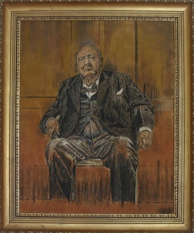 "Sandpainting by Brian Pike - ""Sir Winston Churchill based upon Graham Sutherland's iconic portrait of the great man. "", 1978."