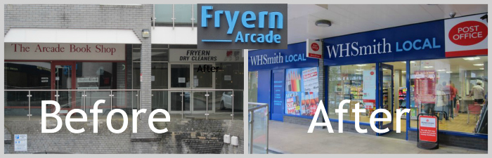 WH Smith Local + Post Office now replaced the Arcade Book Shop and Fryern Dry Cleaners.