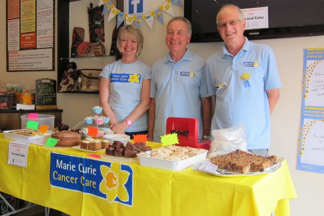 Fundraising at Asante for Marie Curie: (from the left) Hilary, John, and Ray Fishman.