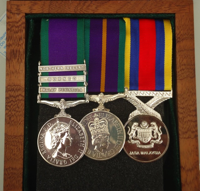 Jeff Parsonson: Pingat Jasa Malaysia (PJM) mounted with General Service Medal (GSM) and Accumulated Campaign Service Medal (ACSM).