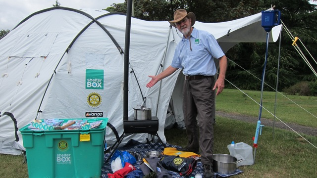 Tony Trowsdale set up this disaster relief tent. Each box contains essential equipment.
