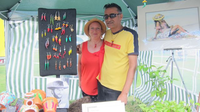 Sonny Chana and Nicole. Sonny showed his art work and chilli-inspired jewellery at the Chilli Festival.