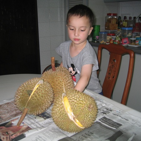 Durian is lovely. My son's encounter with durians  many years ago in Singapore.