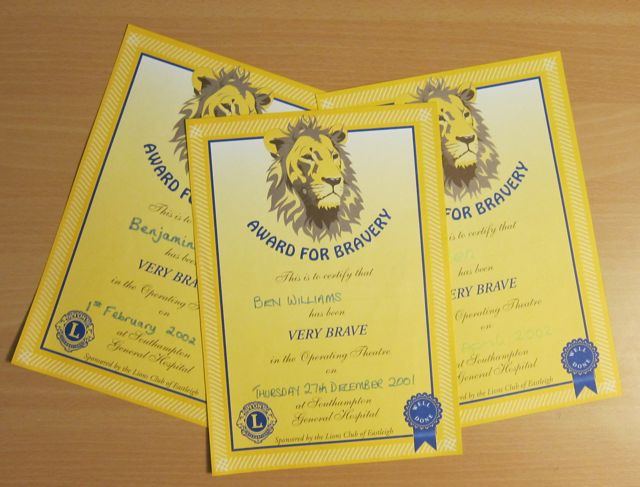 Bravery certificates by Eastleigh Lions Club - for children at Southampton General Hospital.
