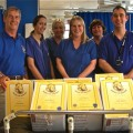 Eastleigh Lions issue bravery certificates to hospital children.