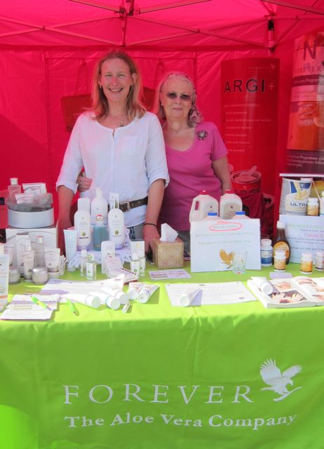 Wendy Blackman and her mother Jackie at their Forever aloe vera stall.