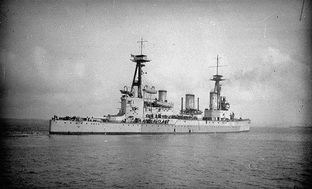 """HMS Indefatigable (1909). Wikipedia Commons via <a href=""""http://www.iwm.org.uk/collections/item/object/205184983"""">SP392</a>, Imperial War Museums."""