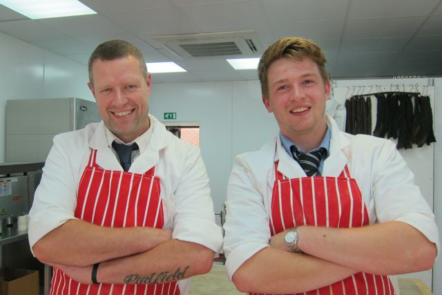 New butchers at Fryern Arcade, Chandler's Ford: Tony Padfield (manager; on the left) and Lewis Vigor.