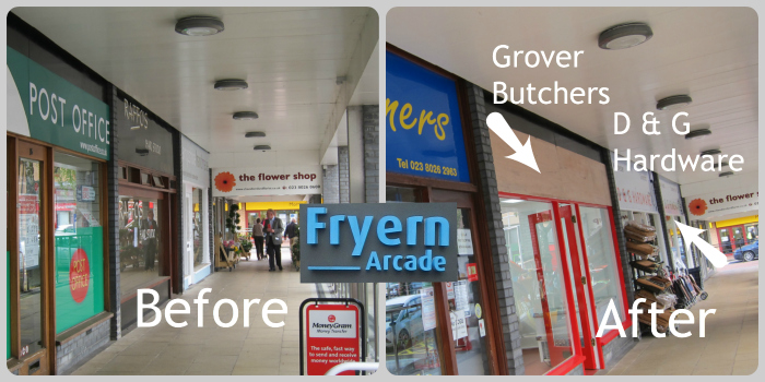 Grover Butchers have now replaced the post office at Fryern Arcade, Chandler's Ford.