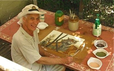 Sandpainting artist Brian Pike.