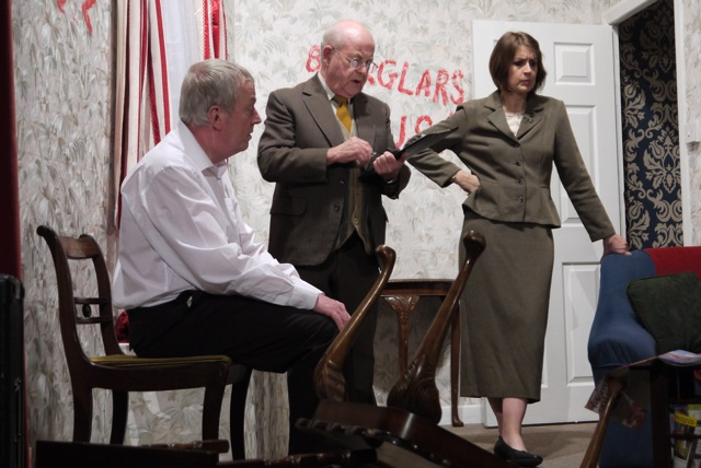 (Left to right): Richard Wright, John Archer, and Sarah Sullivan in <em>Ladies of Iniquity</em>, by Chandler's Ford MDG Players.