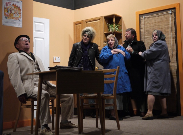 <em>Ladies of Iniquity</em> by the Methodist Church Drama Group, Chandler's Ford. Left: Lester Parry playing Albie the Fence.