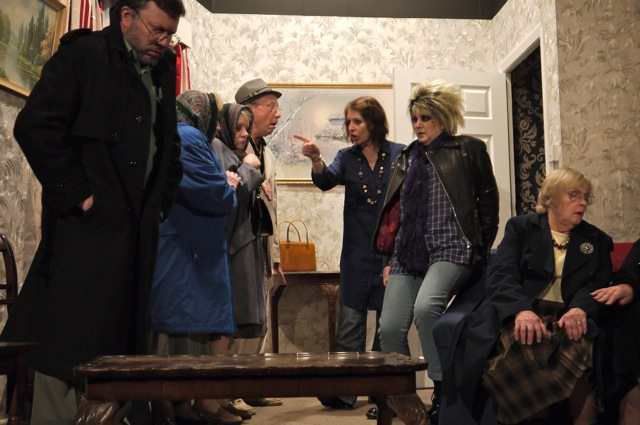 Left: Mike Slatcher playing Douglas Clarke. <em>Ladies of Iniquity</em> by Chandler's Ford MDG Players in Methodist Church.