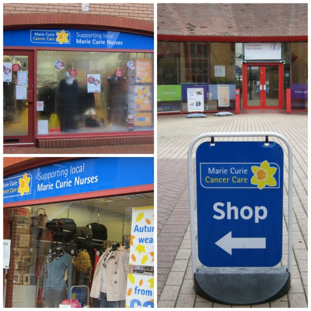 Marie Curie charity shop at the Mall, next to the library in Chandler's Ford.