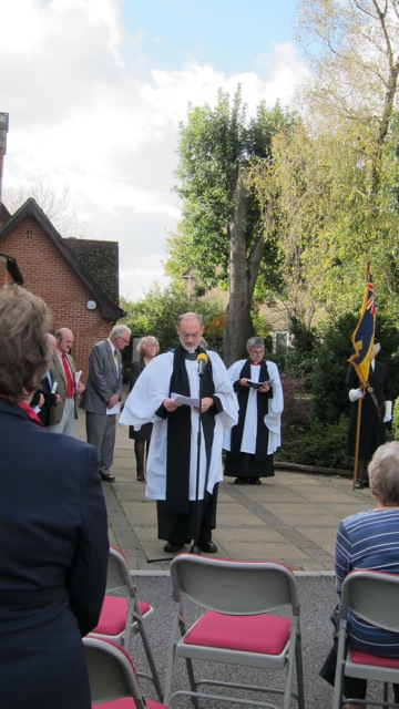 The Reverend Peter Hutchinson, Vicar of St. Francis Church in Valley Park, read out the names of the fallen.