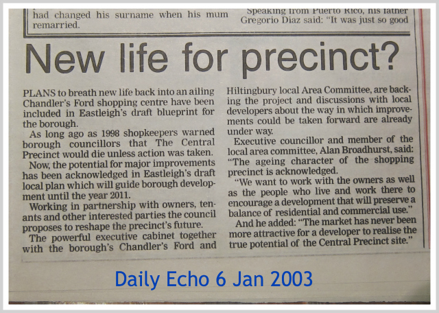 """Ailing Chandler's Ford shopping centre"" - Daily Echo, 2003."