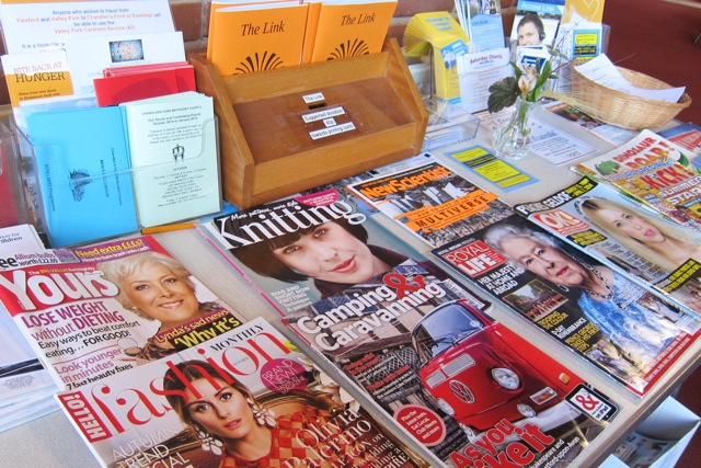 Church magazine and glossy magazines at Dovetail Centre, Chandler's Ford Methodist Church.