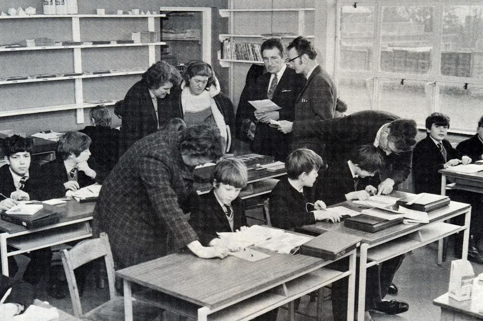 Maths Class with Mr Bone and Mr Middleton - Montgomery of Alamein School. Image from the 1974 school magazine.