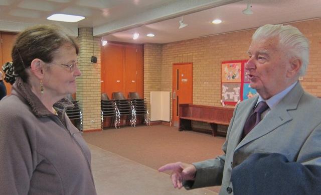Brian Green was telling Hazel Bateman stories of Montgomery of Alamein School In Winchester.