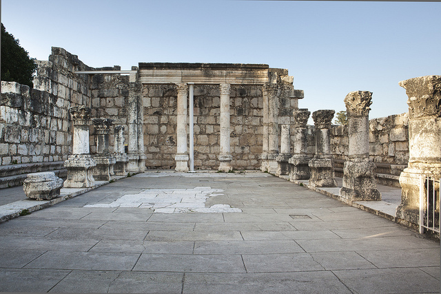 "The ancient synagogue in Capernaum, Israel. Image by <a href=""https://www.flickr.com/photos/visitisrael/7723531402"">Israel Tourism</a> via Flickr."