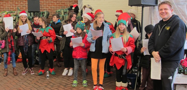 Centrestage Productions Youth Theatre - singing Christmas Carol at Brambridge Park Garden Centre and promoting <em>The Phantom of the Opera </em> production for February 2015.