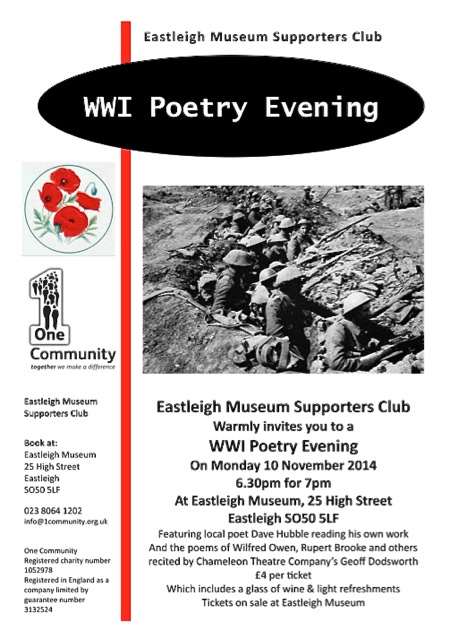 Eastleigh Museum WW1 poetry evening.