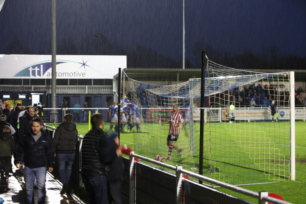 Eastleigh players and fans celebrate Ben Strevens' winning strike late in the game.